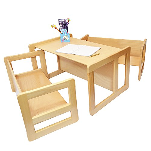 3 in 1 Childrens Multifunctional Furniture Set of 3, Two Small Benches or Tables and One Large Bench or Table Beech Wood, Natural by Obique Ltd