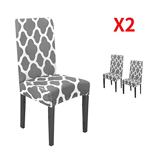 YIMEIS Stretch Dining Chair Slipcovers, Geometric Printed Dining Chair Protector, Removable Washable Short Dining Room Chair Slipcovers for Dining Room, Kitchen, Office (Pack of 2, Grey)