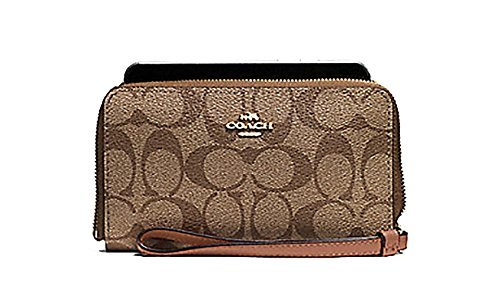 (Coach Signature Phone Wallet Wristlet - #F57468)