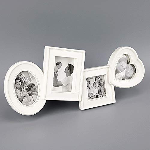 Puzzle Photo Love Baby - RasmussOn Decorative Collage Picture Plastic Frame Displays 4 Photos White and Black Use As for Love Family Baby 10x15,10x15,10x10,9x9 (White)