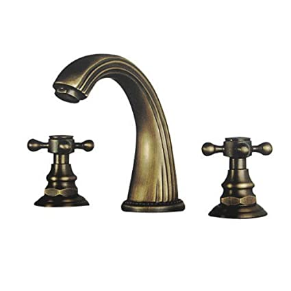 Lightinthebox Two Handle Polished Brass Traditional Ceramic Valve  Widespread Waterfall Bathroom Vanity Sink Lavatory Faucet Antique