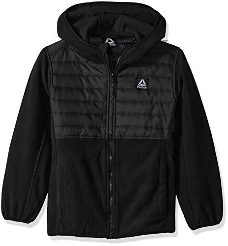 (Reebok Boys' Toddler Active Hooded Polar Fleece Jacket, Black, 4T)