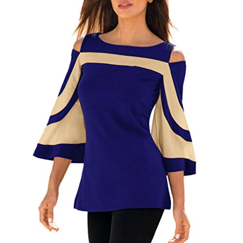 TOPUNDER Women Cold Shoulder Shirt Long Sleeve Blouse Sweatshirt Pullover Tops by