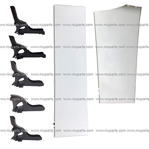 (7 Pieces Combo - Top and Bottom Sleeper Cabin Fairings White and Mounting Brackets Black - Passenger Side (Fit: Freightliner Cascadia 2008-2016 Truck))