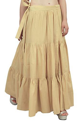 Coton Vtements Crinkle Beige Solide Dames Wrap Hirarchis Jupe Bimba De Loisirs AwXx070