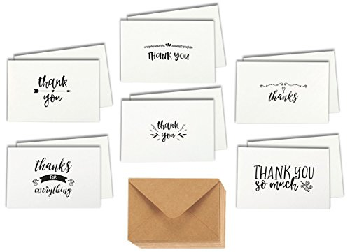 48 Assorted Thank You Cards Single-Side Printing Greeting Notecards in Postcard Style, Bulk Variety Set Includes 6 Different Designs with Kraft Envelopes, 4 x 6 (Small Thank You Cards)