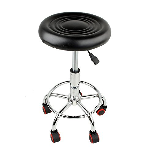 PU Leather Round Rolling Stool with Foot Rest Swivel Height Adjustment Hydraulic Rolling Swivel Salon Stool Chair Tattoo Massage Facial Spa Stool Chair Black
