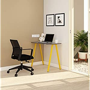 SOS LiteOffice A Line Desk Home and Office Table Standard (Yellow)