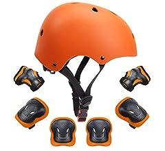 KORIMEFA Casco Infantil Equipo de Protección Patinete con Casco Adjustable Rodilleras Coderas para Bicicleta Monopatín y Deportes Extremos