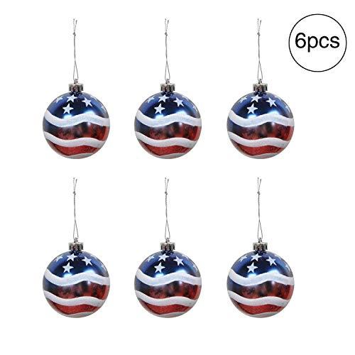 KODORIA 6pcs Patriotic Ball Ornaments July of 4th