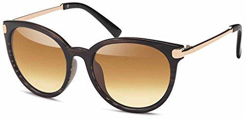 Balinco Vintage Lunettes de soleil en tendance Unisexe 60er Années Style avec trendy finition couleur bronze Montures en métal pour hommes & Femmes - Retro lunettes - Or gris DFwt10M5N2