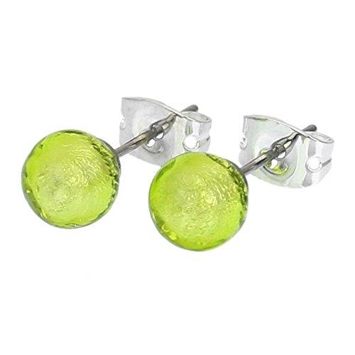 GlassOfVenice Murano Glass Tiny Stud Earrings - Apple Green