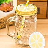 Autumn Water 500ml Mason jar with lid Sucker Beer Water Glasses Bottles Coffee Mug with Handle Lemon Cool Drink jar Party bar Fruit Bottle