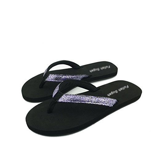 Lila und Sommer Sandalen 0 Pailletten flache Mode 5 Größe Hausschuhe weibliche UK Slip qHxqBprw