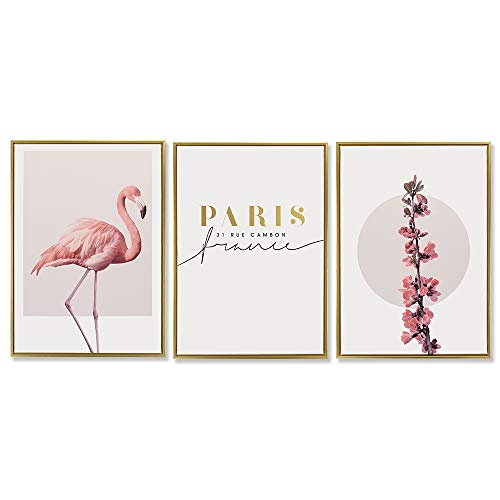 Gold Framed Dream Record (SEVEN WALL ARTS - 3 Pieces Canvas Wall Art Minimalist Simple Life Prints Nordic Wall Pictures Pink Flamingo, Paris & Cherry Blossom Framed Canvas Print Triptych PS Frame Golden 20 x 28 Inch)