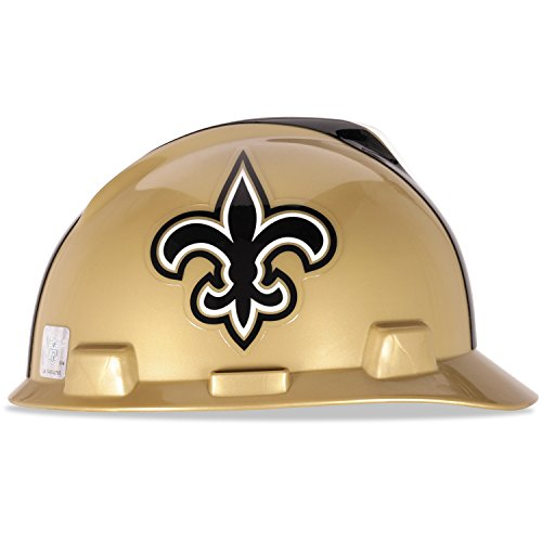 MSA 818402 Officially-Licensed NFL V-Gard Helmets, Staz-On, New Orleans Saints Logo, Standard, Tan/Black/White