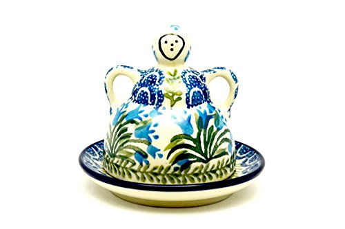 Polish Pottery Cheese Lady - Miniature - Blue Bells (Figurine Pottery Lady)