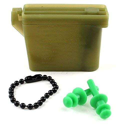 Vanguard Military Ear Plugs with Chain and Case (Green, Small)