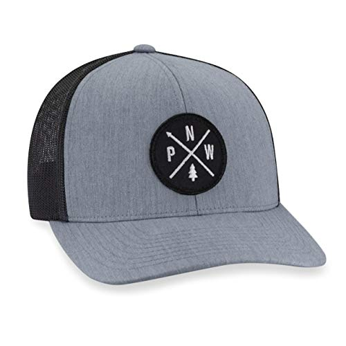 PNW Hat - Pacific Northwest Trucker Hat Baseball Cap Snapback Golf Hat (Grey)