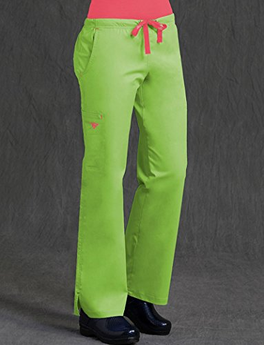 Med Couture Womens Ez Flex Junior Fit Moda Solid Scrub Pant Medium Key Lime Apricot