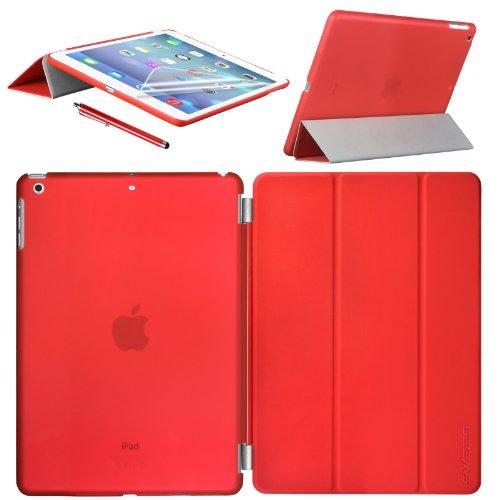 Swees Apple iPad Air Smart Cover und TPU Back Hülle Cover Case Schutzhülle Etui Tasche für 2013 iPad Air iPad 5, Unterstützt Sleep / Wake Funktion+ Displayschutzfolie & Stylus (Eingabestift) - Rot