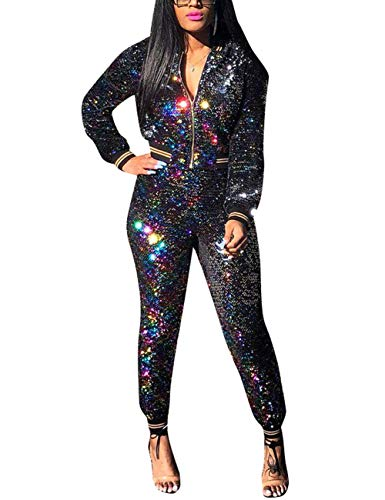 bfc5526c4786 Akmipoem Women s Sequin 2 Piece Outfit Long Sleeve Zip Up Jacket and Bodycon  Pants Set