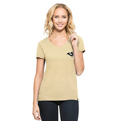 '47 NFL Los Angeles Rams Women's Clutch MVP V-Neck Tee, Athletic Gold, (Yellow Gold Rams)