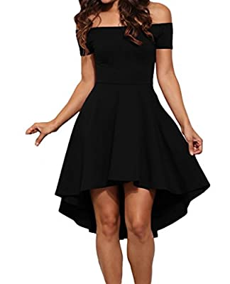 Tiksawon Womens Sexy Off Shoulder Short Sleeve Evening Party Skater Dress
