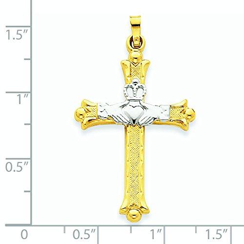 14 carats-Bicolore-Pendentif Claddagh-Dimensions :  59,4 x 39,7-JewelryWeb mm