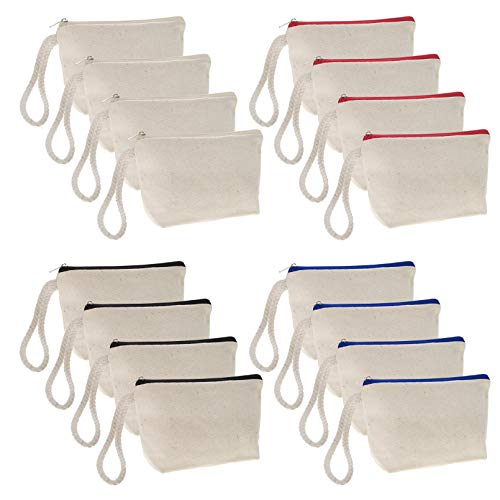 Aspire 12-Pack Natural 100% Cotton Canvas Pouches Wristlet Bag with Bottom Mixed Zipper