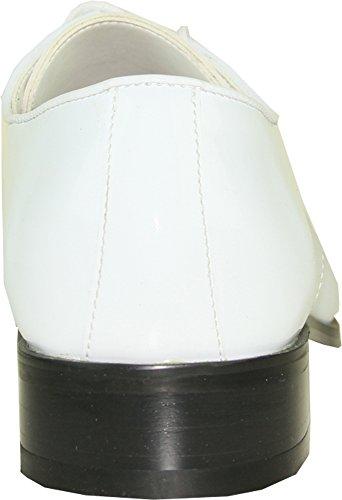Vangelo Menn Tuxedo Sko Tux-fem Mote Kvadrat Tå For Bryllup Formell Hendelse Hvit Patent 9.5w