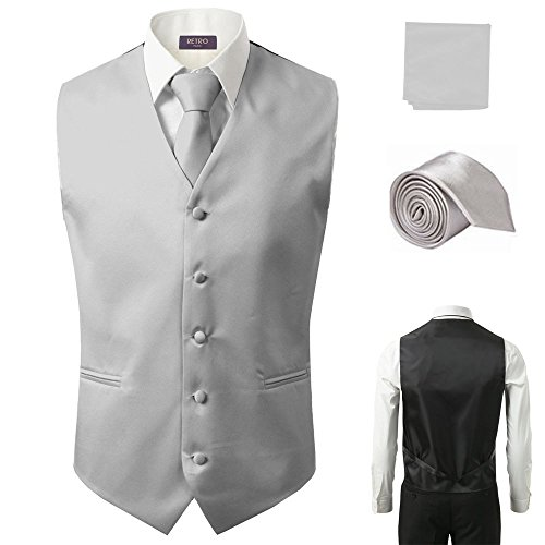 - 3 Pcs Vest + Tie + Hankie Gray Fashion Men's Formal Dress Suit Slim Tuxedo Waistcoat Coat (Medium)