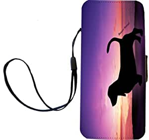 Rikki Knight Basset Hound Dog At Sunset Flip Wallet iPhoneCase with Magnetic Flap for iPhone 5/5s - Basset Hound Dog At Sunset