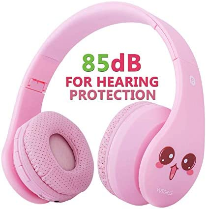 VOTONES Kids Wireless Headphones 85dB Hearing Protection Girls Bluetooth Over Ear Headphones,Foldable Stereo Sound Headset with Microphone 3.5mm Jack for Smartphone PC Tablet Pink