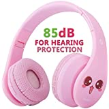 VOTONES Kids Wireless Headphones Hearing Protection Girls Over Ear Bluetooth Headphones 85dB,Foldable Stereo Sound Headset with Microphone 3.5mm Jack for Smartphone PC Tablet(Pink)