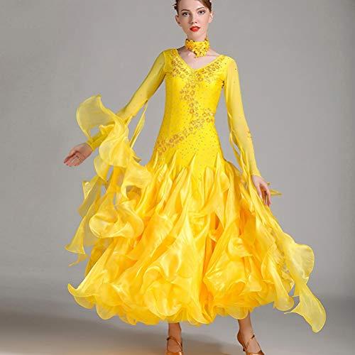 Donne Abiti Standard Per S Valzer Danza xxl Le Wqwlf Strass Da Prestazione Competizione Tute Abbigliamento Nuova Di Moderna Grande Swing Yellow Costumi Ballo Gonna 1YI7RI