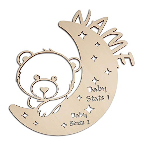Baby Newborn Gifts for Boys & Girls I Unique Moon Sleepy Bear & Stars LED Night Light Personalized with Name and ()