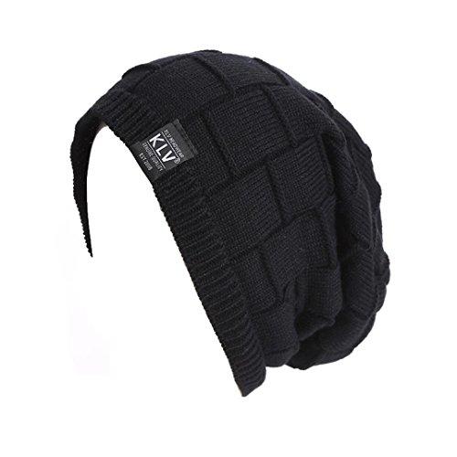Amlaiworld Herren Winter Warm geflochten Häkeln Wolle stricken Hut (Schwarz)
