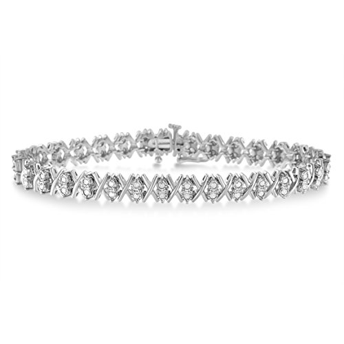 (Original Classics Sterling Silver Diamond X-Link Tennis Bracelet (1 cttw, I-J Color, I3 Clarity))