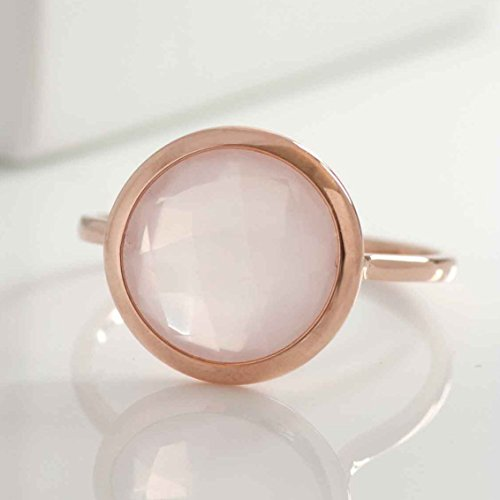 Rose Quartz Ring Gold Round Gemstone Ring 14K Solid Gold Natural Genuine Real Quartz Pink Gem Semiprecious Stacking Proposal Anniversary Birthday Dainty Elegant Gift for Her