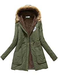 Cromoncent Womens Solid Winter Lapel Woolblend Thick Outwear