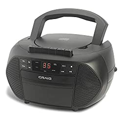 Craig Electronics - CD Boombox with AM/FM Stereo Radio and Cassette Player/Recorder, Black