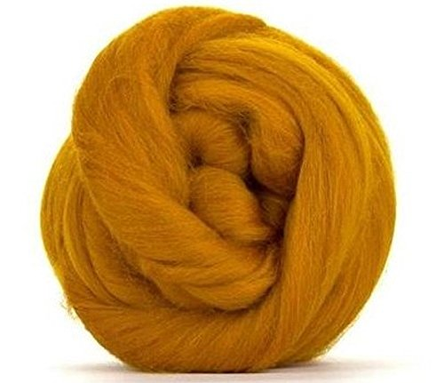 4 oz Paradise Fibers 64 Count Dyed Amber (Yellow) Merino Top Spinning Fiber Luxuriously Soft Wool Top Roving for Spinning with Spindle or Wheel, Felting, Blending and Weaving ()