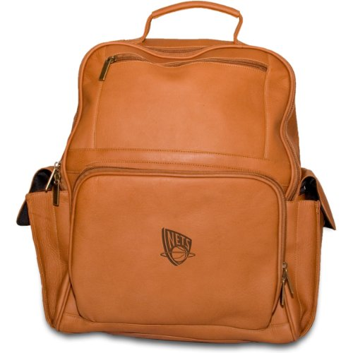 NBA New Jersey Nets Tan Leather Large Computer Backpack by Pangea Brands