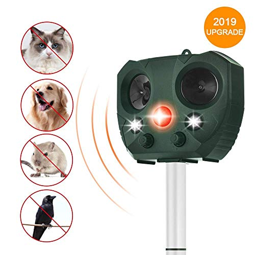 Wikomo Animal Repeller Solar Powered Ultrasonic Motion Sensor and Flashing Light Anima; Repeller for Cats, Dogs, Squirrels, Moles, Rats (Best Ultrasonic Cat Repeller)