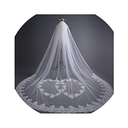 2019 Lace Edge Bridal Wedding Veil Beads Stone Appliqued Long 3m White Accessories Woman Voile Mariage With Comb D30,WHITE,300cm ()