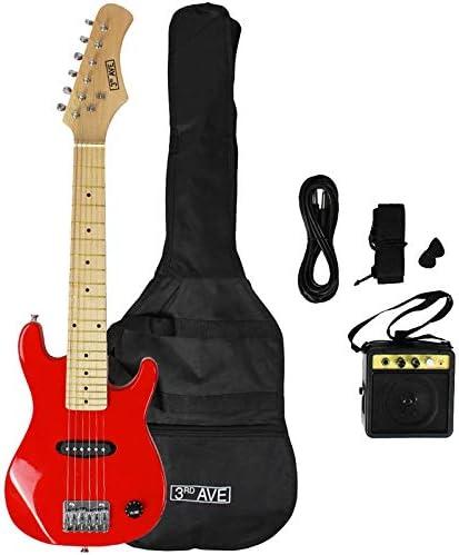 3rd Avenue STX30RDPK - Paquete junior de guitarra eléctrica, Rojo