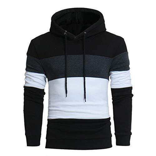 FORUU Men's Long Sleeve Patchwork Hoodie Hooded Sweatshirt Tops Jacket Coat Outwear ()
