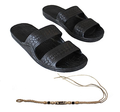 Rubber-Double-Strap-Jesus-Style-Sandals-Imperial-Brand-With-1-Braided-Natural-Hemp-Anklet-Bracelet-Bundle-2-Items
