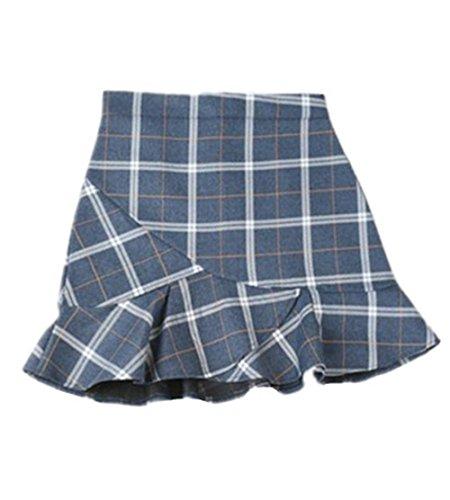 Aoliait Femme Jupe A-Line Slim Fit Jupe Court ElGant Femelle Skirt avec Volants Dcontracte Jupe Carreaux Tendance Jupe Blue2